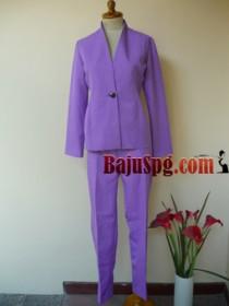 seragam blazer menard ungu muda front